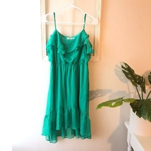 Poetry green high low dress
